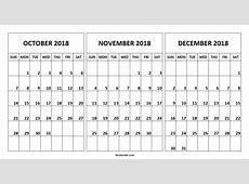 October And November 2018 Calendar Printable Monthly