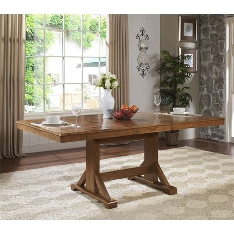 extendable trestle wood dining table  antique brown twwab