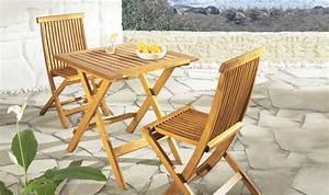 Mobilier Jardin Bois : petit salon de jardin pliant pour balcon en bois naturel ~ Premium-room.com Idées de Décoration