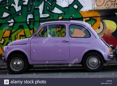 Small Fiat Car by Italian Small Car Fiat 500 With Graffiti On The