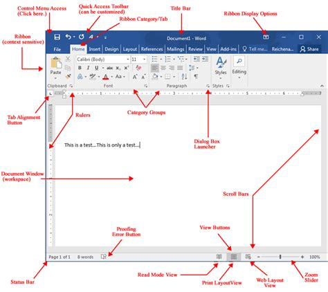 Microsoft 2010 Word Labeled Diagram by Word 2016 Initial Screen
