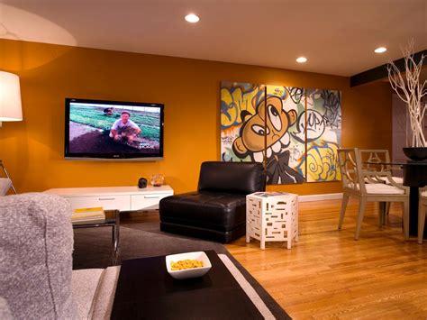 modern bachelors pad living room  graffiti art hgtv