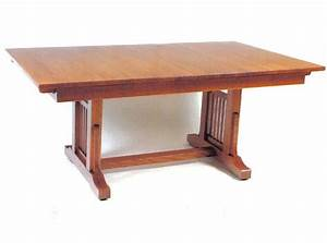 Amish American Craftsman Trestle Table with 4 Self Storing