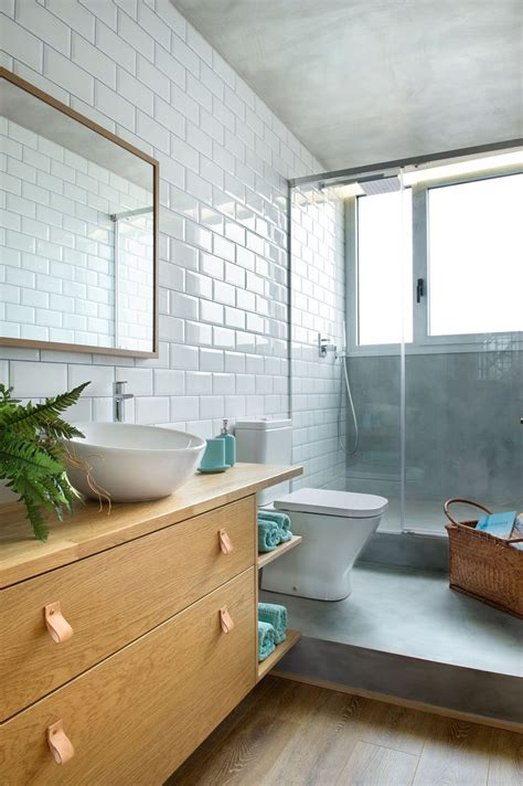 Modern Bathroom With Wood Tile by Concrete Wood Tiles And Black Accents Are All Combined