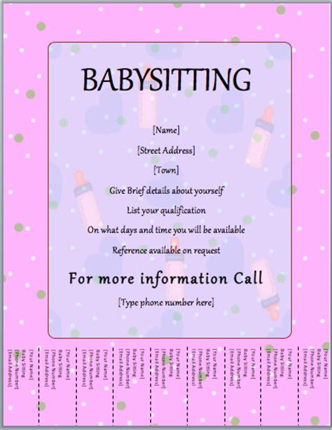 babysitter flyer template tear  word templates