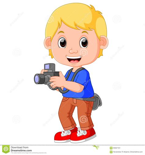 cartoon character photographer stock vector illustration