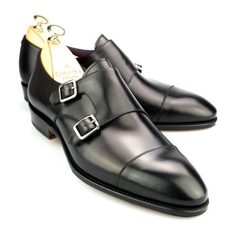 metal buckle loafers monk in black box calf
