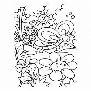 Coloriage Jardin Fleurs Sous Le Soleil Dessin Gratuit Imprimer