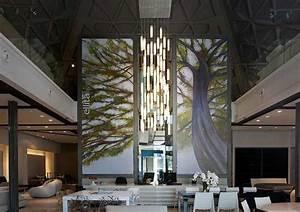 Tall entry lobby chandelier modern lighting for foyer