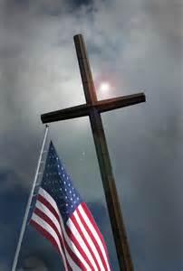 Christian Cross and American Flag