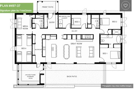 4 bedroom one house plans single house plans with 4 bedrooms