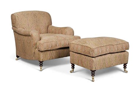 A Paisley Armchair And Stool , By George Smith Ltd, Modern