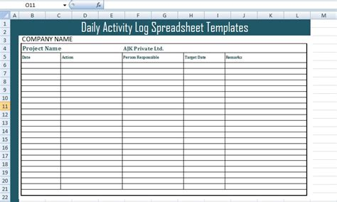 daily activity log spreadsheet templates  excel