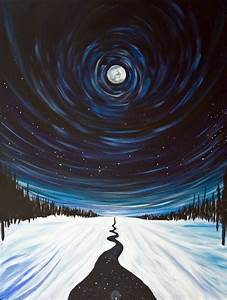 Snow, Moon and Stars, Landscape Painting - Photo Print on ...
