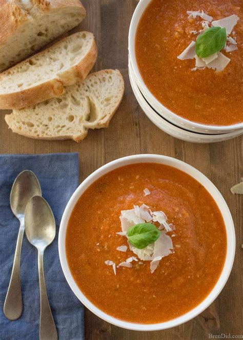 healthy tomato soup recipe healthy slow cooker tomato basil parmesan soup recipe bren did