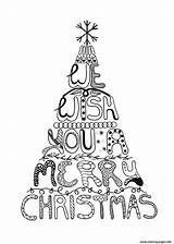 Coloring Christmas Merry Tree Pages Adult Adults Printable Wish Natale Easy Winter Colouring Da Colorare Di Cards Sheets Printables Ornaments sketch template