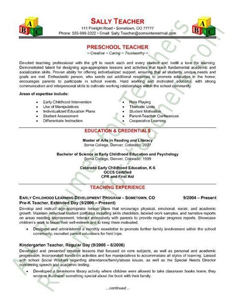 Sle Resume For Teachers by Preschool Resume Sle Curriculum Vitae