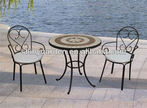 table et chaise bistrot mosaic tile tabletop metal folding chairs outdoor patio