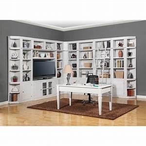 Parker, House, Boca, Corner, Wall, Bookcase, With, Desk, -, Cottage, White