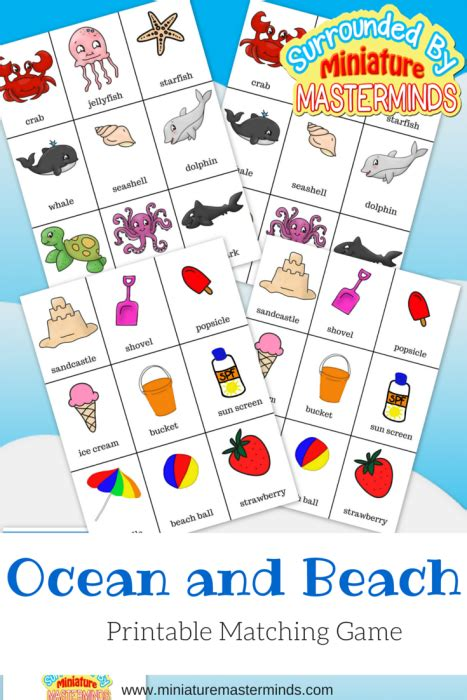 Ocean And Beach Themed Matching Game  Miniature Masterminds
