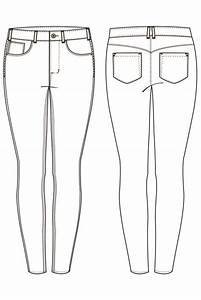 Jeans Technical Drawing - ClipartXtras