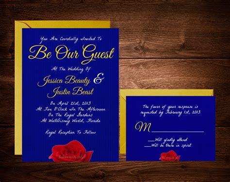 beauty   beast wedding invitations fairytale