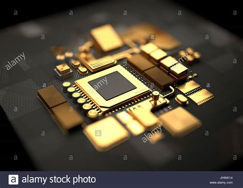 Motherboard Background Technology Background With 24k Gold Cpu And Motherboard