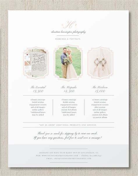 photography pricing template wedding photographer