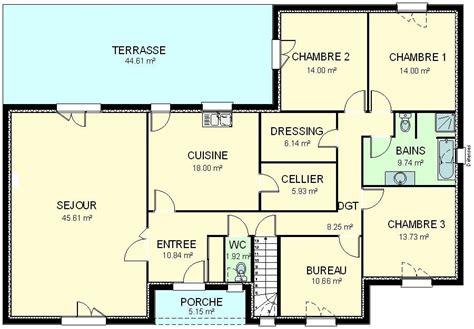 plan maison plain pied 3 chambre construction 86 fr gt plan maison plain pied traditionnel