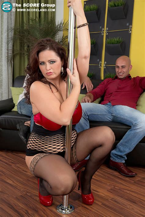 busty hot fatty sirale pole dances in sexy lingerie and joins hot 3some topless