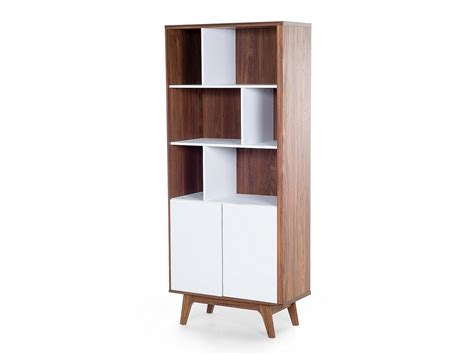 White Wood Bookcase by Bookcase White Wood Varnish 6 Shelves 2 Cabinets Ebay
