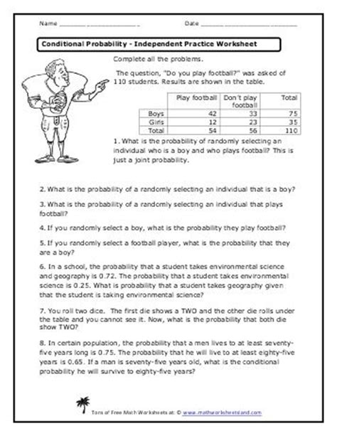 conditional probability worksheet conditional probability independent practice worksheet math conditional probability