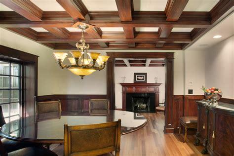 dining room  dark wood trim dining room traditional  mahogany wood wood beams wood beams