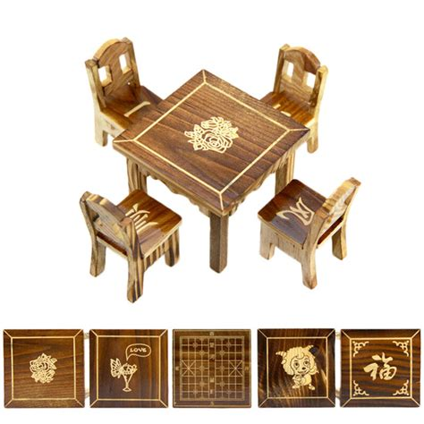 mini dining room wooden dollhouse miniature furniture