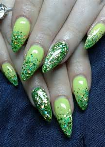 Easy green nail art design is the color of nature fertility