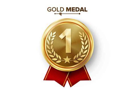 gold st place medal vector metal realistic badge   placement achievement  label
