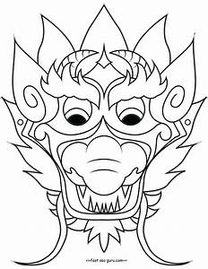 printable chinese dragon mask coloring pages cut out With chinese dragon face template