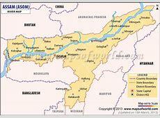 Rivers in Assam Map