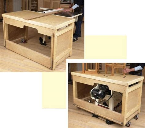 table saw workbench woodworking plans space saving double duty tablesaw workbench woodworking