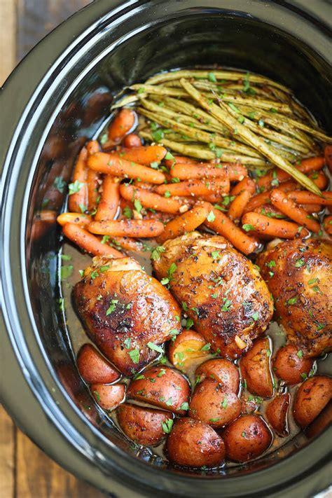 Put everything into your crockpot then walk away until dinner! Honey Garlic Chicken Crockpot Recipe - AllCreated