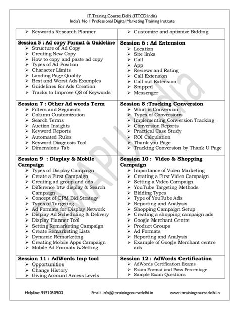 Digital Marketing Course Outline by Advance Certified Digital Marketing Course Syllabus Pdf