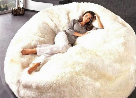 bean bag white fur cuddle chair furniture