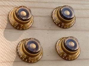Vintage 1959 Gibson Les Paul Knob Set Top Hat Knobs Gold