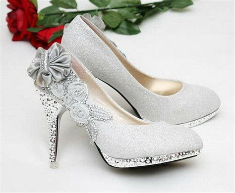 Wedding High Heels by New Silver Beautiful Vogue Lace Flowers High Heels