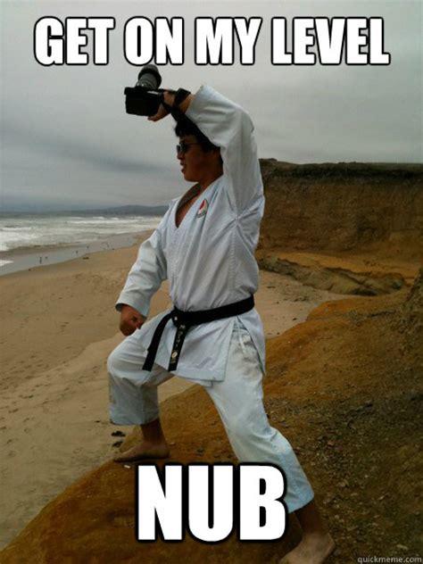 Karate Boy Meme - get on my level nub karate kid quickmeme