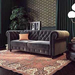 Velvet-tufted-sofa-dark-grey-upholstery-for-classic-interiors
