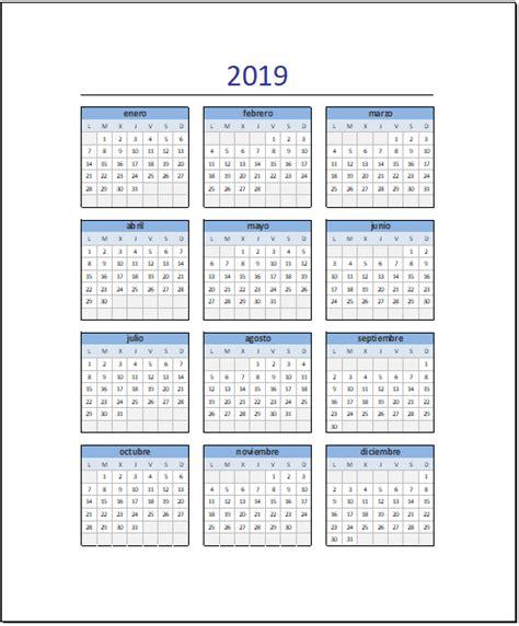 calendario en excel plantilla gratis lista imprimir