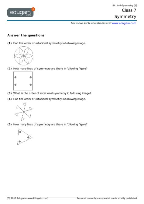 grade  math worksheets  problems symmetry edugain usa
