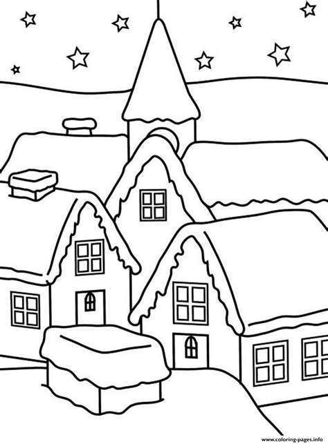 house  winter   kids coloring pages printable