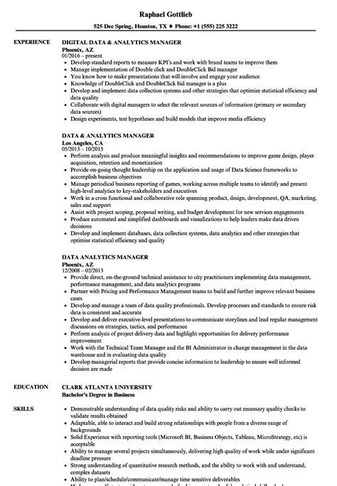 Resume For Analytics by Data Analytics Manager Resume Sles Velvet